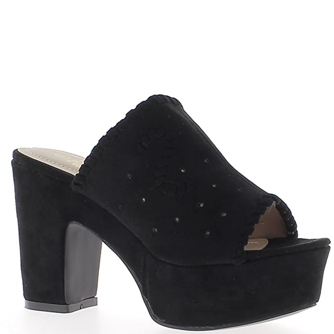 6215b7e54a6 Black Thick Heels of 10.5 cm and Platform Aspect Suede Openwork Shoes - 8   Amazon.co.uk  Shoes   Bags