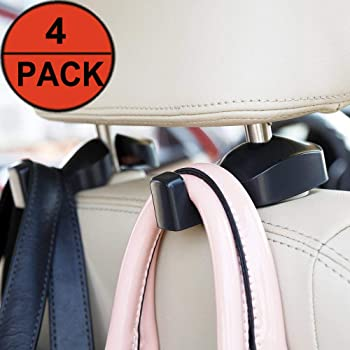4-Pack EldHus Back Seat Headrest Hook Vehicle Car Storage Organization