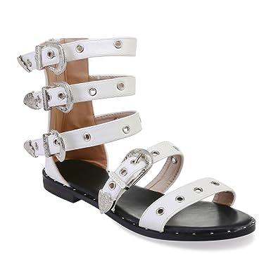 9e0800642b0ca La Modeuse - Spartiates Plates en Simili Cuir  Amazon.fr  Chaussures et Sacs