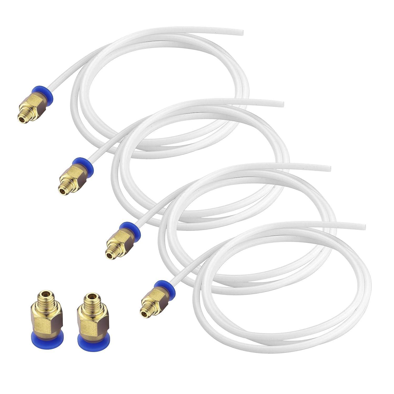 S SIENOC 4 x 1M PTFE Teflon Schlauch Tube Wei/ß 2mm x 4mm 6 x PC4-M6 Pneumatische Luft gerade Schnellverschraubung 4mm Gewinde
