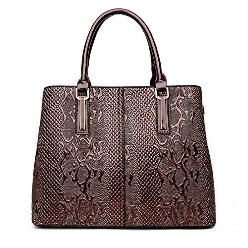 Brown Snakeskin Purse - Panzexin Ladies Handbags Top Handle Bag Snakeskin Pattern Leather Satchel Crossbody Bags for Women Brown