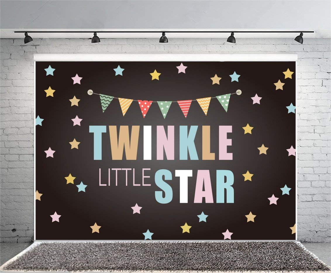Twinkle Little Star Backdrop 8x6ft Baby Shower Polyester Photography Background Cute Colorful Stars Flags Girls Kids Birthday Party Photo Prop Portraits Shoot Decor Banner Poster Wallpaper