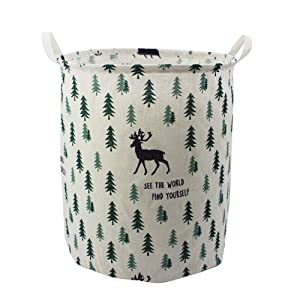"Mziart 19.7"" Large Cute Toy Storage Bins Organizer Round Cloth Storage Basket for Nursery Kids Baby, Canvas Foldable Laundry Hamper Bag, Collapsible Waterproof Laundry Basket Sorter (Forest Deer)"