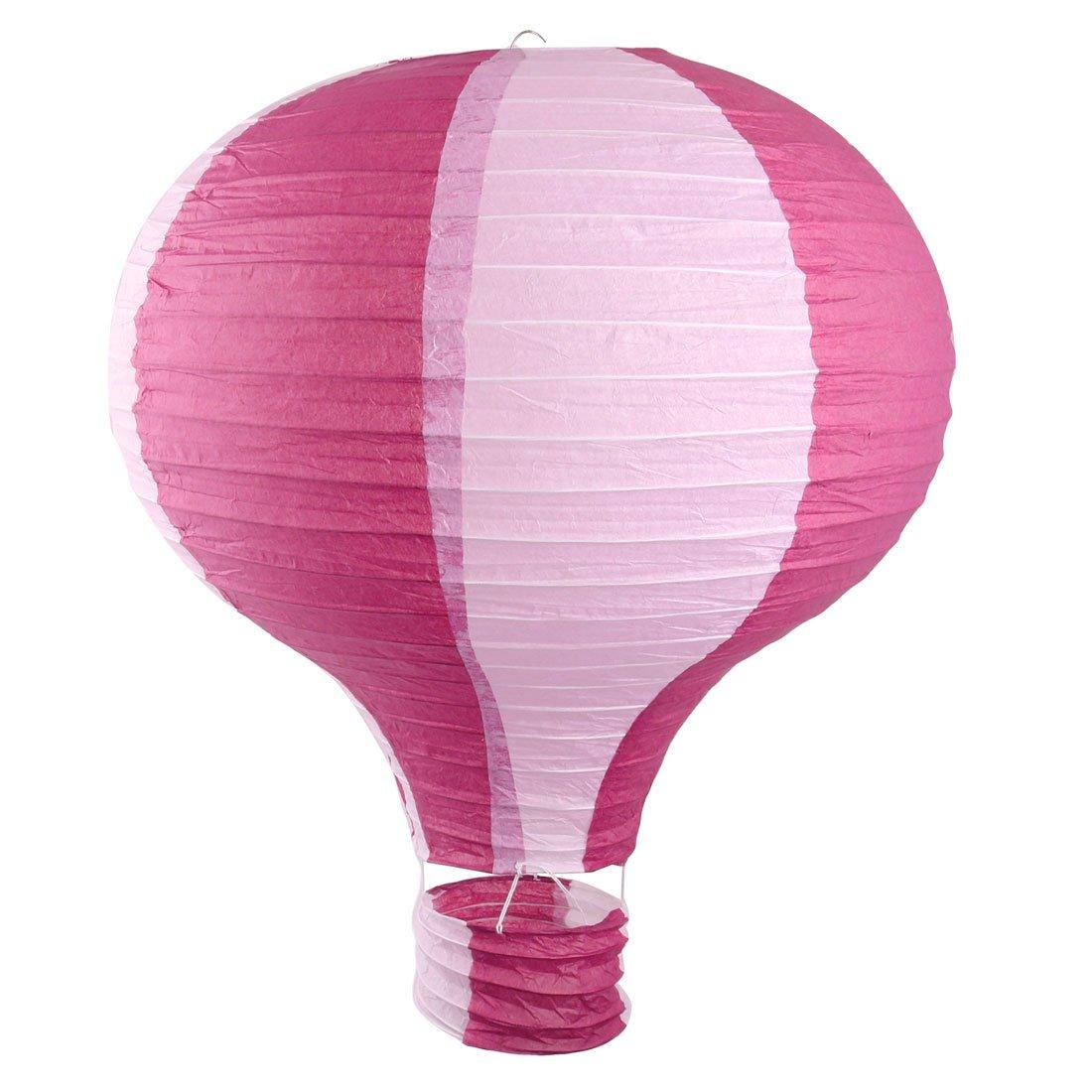 uxcell Paper Household Party Lightless Hanging DIY Decor Hot Air Balloon Lantern 16 Inch Dia Fuchsia White