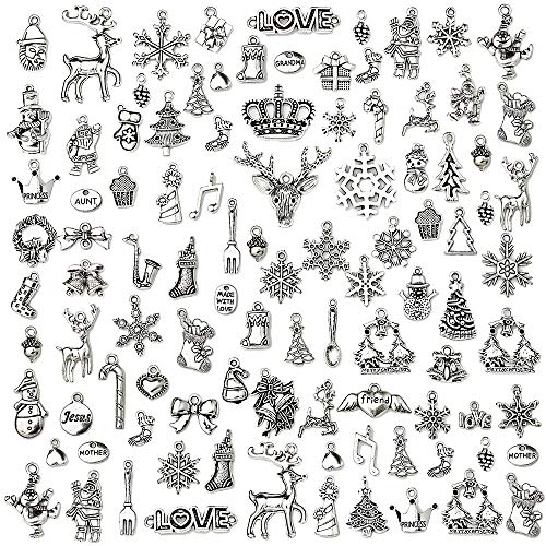 Christmas Charms-100g (About 65-70pcs) Craft Supplies Christmas Mixed Pendants Beads Charms Pendants for Crafting, Jewelry Findings Making Accessory for DIY Necklace Bracelet(Christmas Charms)