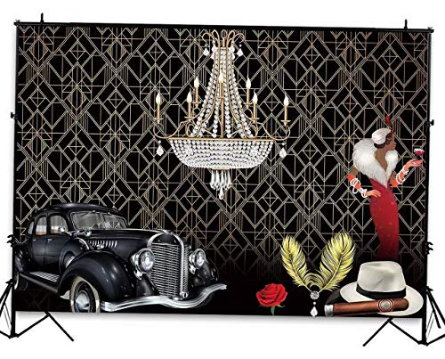 Mikash 7x5ft Roaring 20's Themed Party Backdrop The Great Gatsby Flapper Adult Birthday Background Cake Table Banner | Econ Vinyl 7x5ft | Model WDDNG - 134 ()