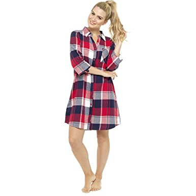 Ladies Womens Nightshirt 100% Cotton Boyfriend Style Check Pyjama Nightie  Winter  Amazon.co.uk  Clothing 1bbd6db4a