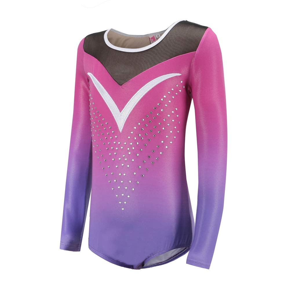 Fedi Apparel Pretty Tumblewear Purple Plus Gymnastics Leotards for Girls Long Sleeve Two Color Shift