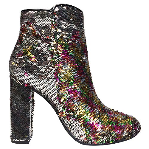 Bamboo Heel Sequins Round Bootie Sequined Women's color Multi Chunky Toe rXBrzw