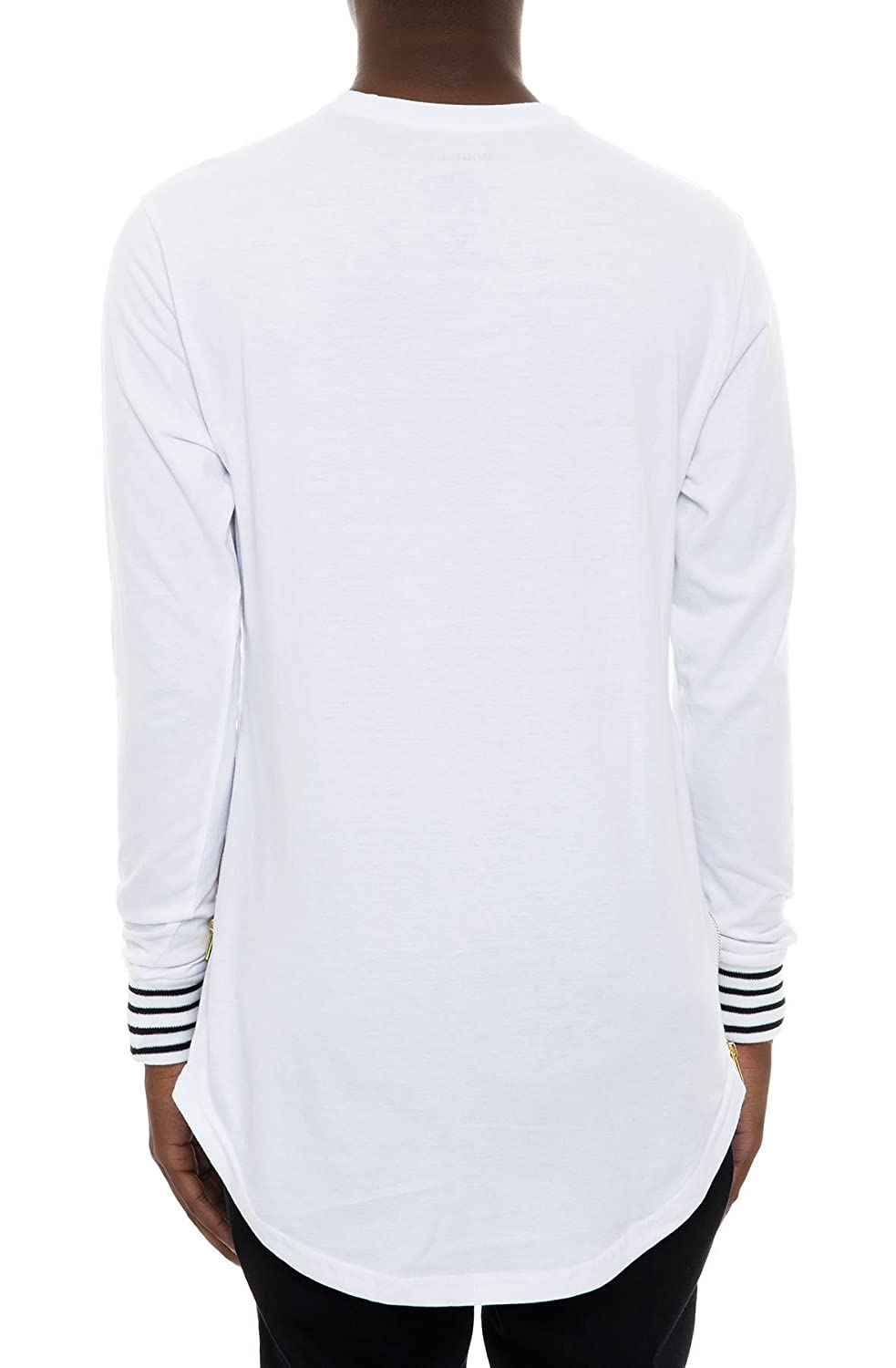 0e2046027 Smoke Rise Men's Scalloped Longline Side Zippers Long Sleeve T Shirt