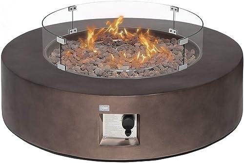 COSIEST Outdoor Propane Fire Pit Coffee Table w Dark Bronze 42-inch Round Base Patio Heater, 50,000 BTU Stainless Steel Burner, Wind Guard, Tank Outside, Free Lava Rocks, Waterproof Cover