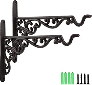 Jugaogao 2 Pack Cast Iron Plant Hanger Hanging Planters Basket Wall Hook with Screws, Vintage Metal Wall Stands for Bird Feeders, Planters, Lanterns, Wind Chimes, Wall Brackets - Dark Brown