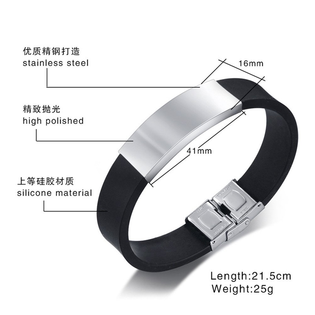 Sunling Personalized Survive This Psychopath Engraved Stainless Steel Promise Quote Silicone Bracelet Bangle Wristband for Her,Him,Wife,Husband,Funny Birthday, Free Engraving by Sunling (Image #2)
