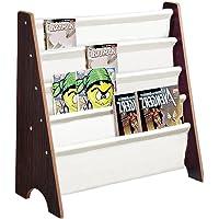 Yescom Wooden Kids Book Shelf Sling Storage Rack Organizer Bookcase Display Holder Nursery Room Walnut