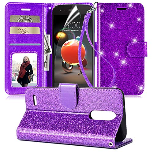 LG Aristo 2 Case,Aristo 3/Aristo 3 Plus/Tribute Dynasty/Fortune 2/Aristo 2 Plus/Phoenix 4/Tribute Empire/k8+/zone 4/Rebel 4 w/Screen Protector,Leather Bling Glitter Case Wallet Cover for Girls,Purple