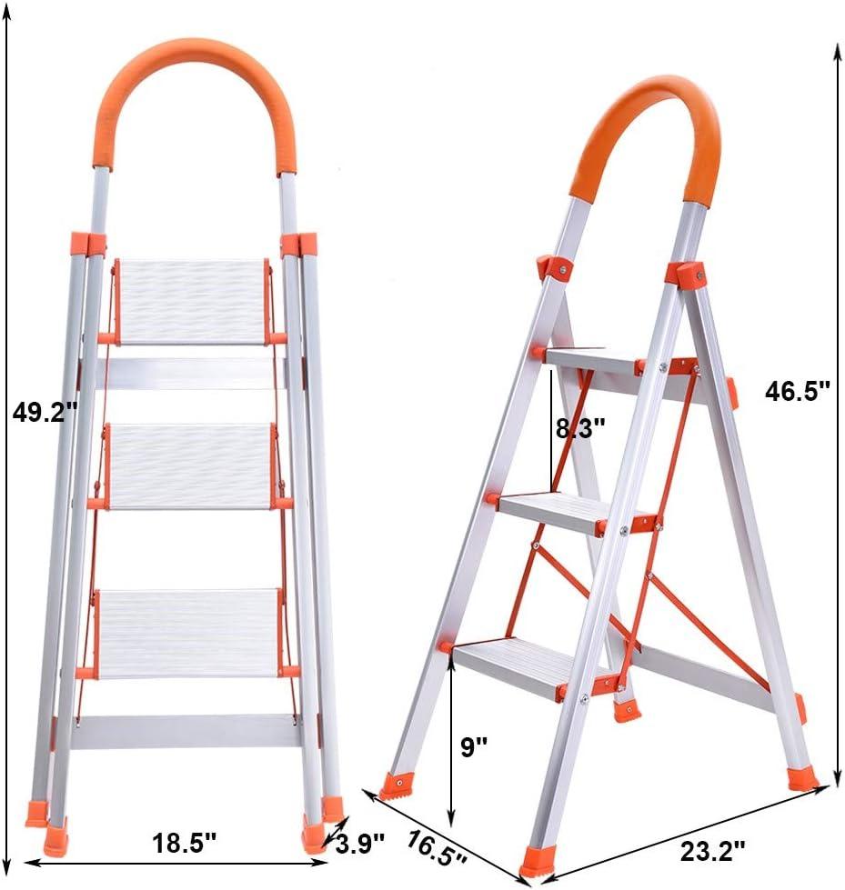 White Folding Step Stool Stepladders Aluminum Stool Ladder Lightweight Heavy Duty Multi Purpose Portable Folding Home Ladder with Handgrip and Wide Anti-Slip Platform Naiflowers 3 Step Ladder