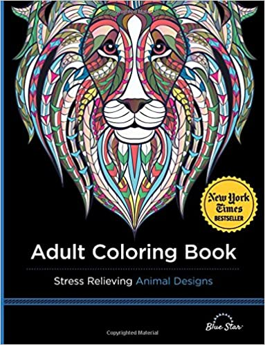 Amazon Adult Coloring Book Stress Relieving Animal Designs 9781941325117 Blue Star Books