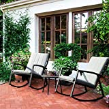 LCH Set of 3 Outdoor Patio Rocking Chairs Bistro Set Furniture - Two Durable Metal Chairs with Retro Wood Coffee Table, Beige Cushion