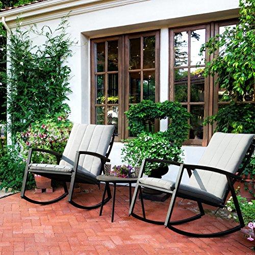 LCH Set of 3 Outdoor Patio Rocking Chairs Bistro Set Furniture - Two Durable Metal Chairs with Retro Wood Coffee Table, Beige Cushion (And Outdoor Table Buy Chairs)