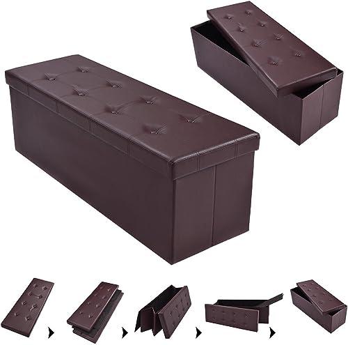 Casart Folding Storage Ottoman Faux Leather Large Bench Foot Rest Pouffe Box Stool Seat Folding Storage Box