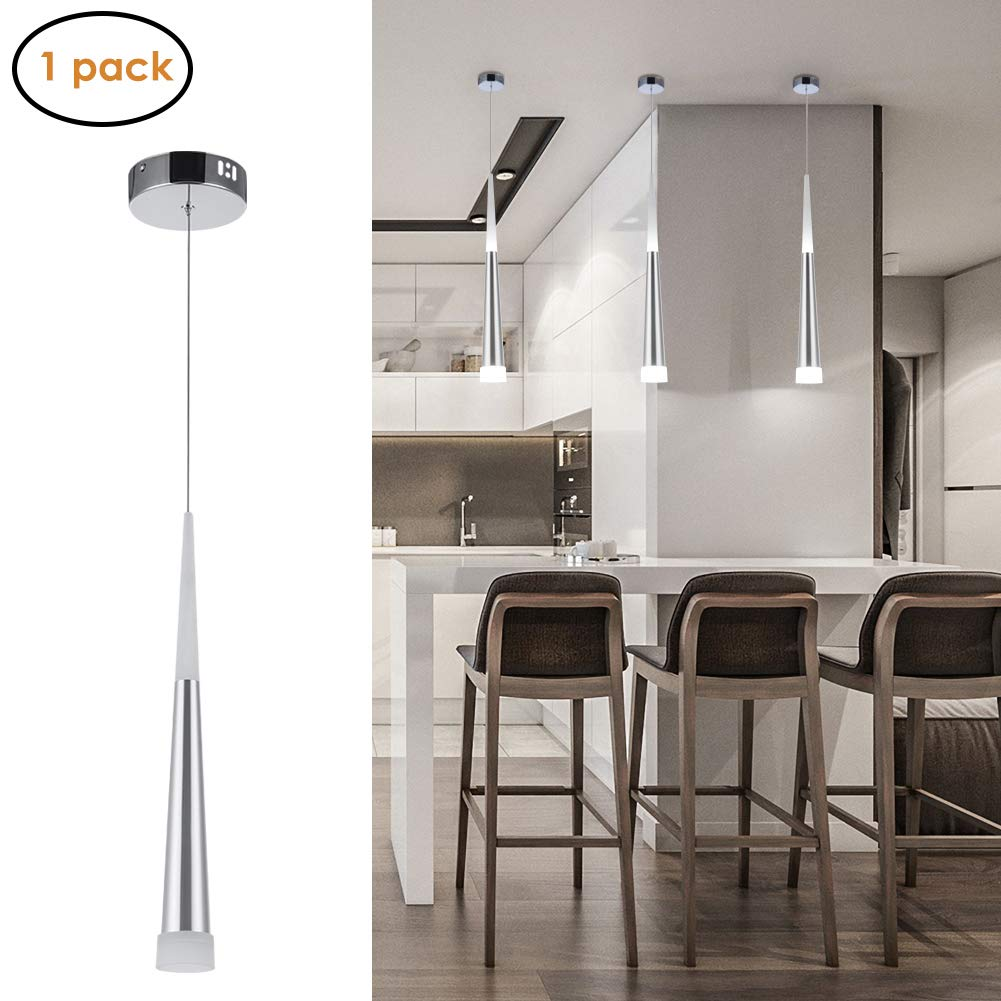 Modern LED Cone Pendant Light, 6W Up/Down Acrylic Hanging Ceiling Light, 1-Light Adjustable Pendant Lighting for Dining Rooms, Kitchen, Living Room
