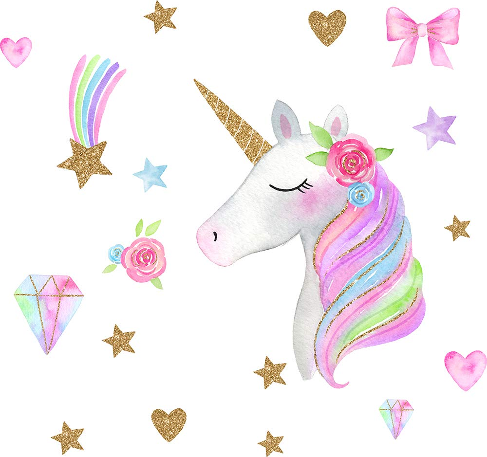 Easma Unicorn Wall Decals Bedroom Wall Decor Girls Wall Decals Girls Bedroom Wall Decor Unicorn Peel and Stick Party Decorations Peel and Stick Wall Decals Rainbow Diamond Wall Decals 3