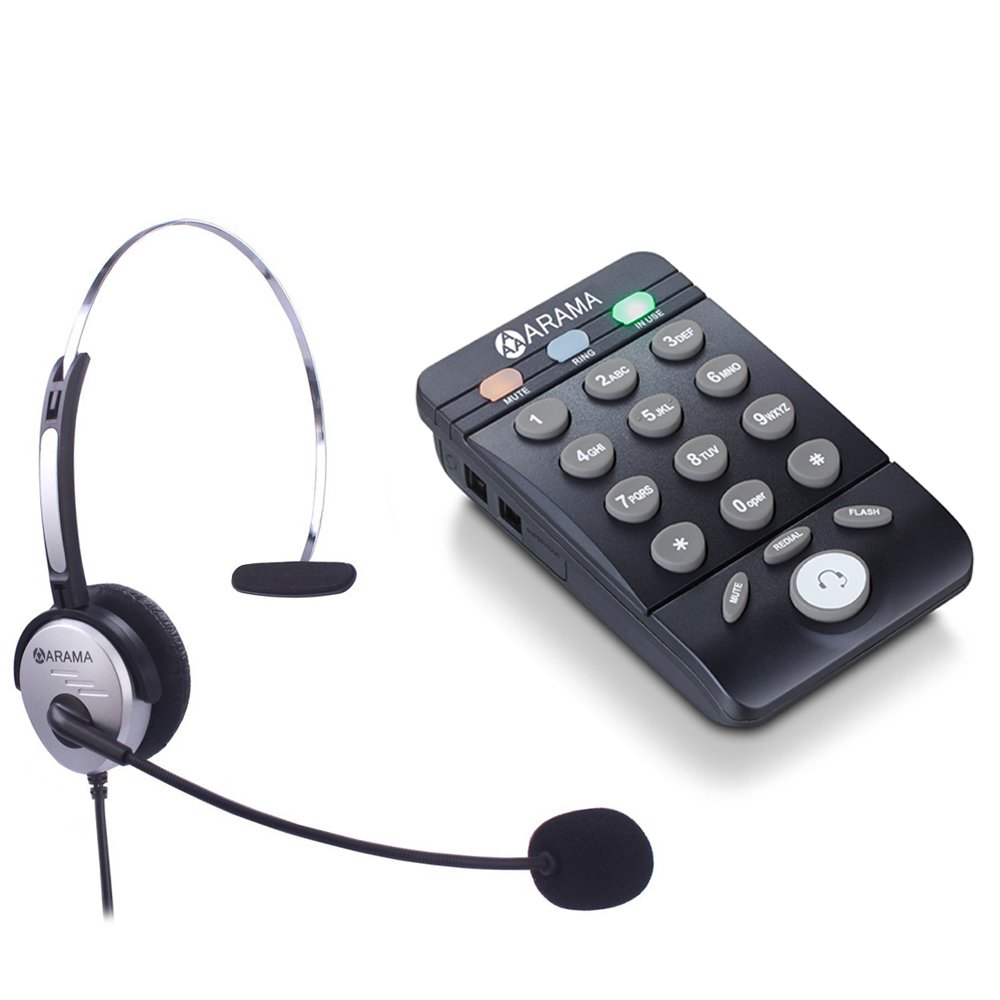 Corded Headset Telephone with Noise Cancelling Headset, ARAMA Landline Phone, Fully Functional Dialpad, Clear Hands Free Calls, Ultra Comfort & Durable