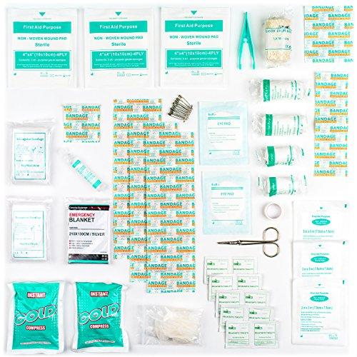 Botiquín de Primeros Auxilios de 90 artículos con Bolsas de Hielo, Solución para Ojos y Manta Isotérmica 14.99€