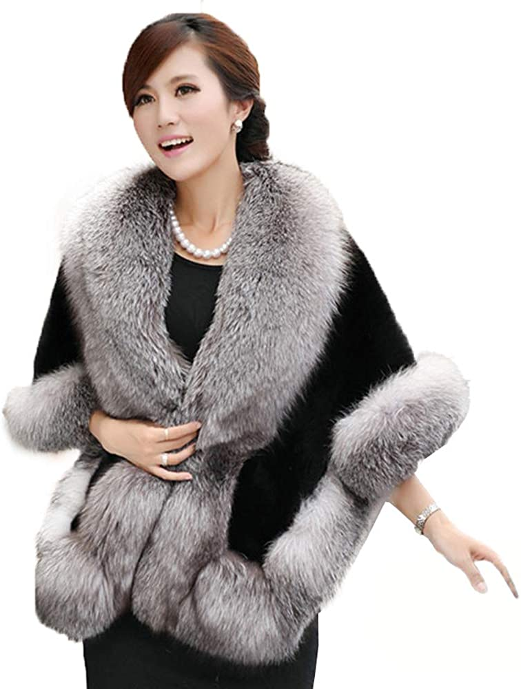 Caracilia Women's Faux Fur Coat Wedding Cape Shawl For Evening Party,  Gray-black, One Size at Amazon Women's Coats Shop