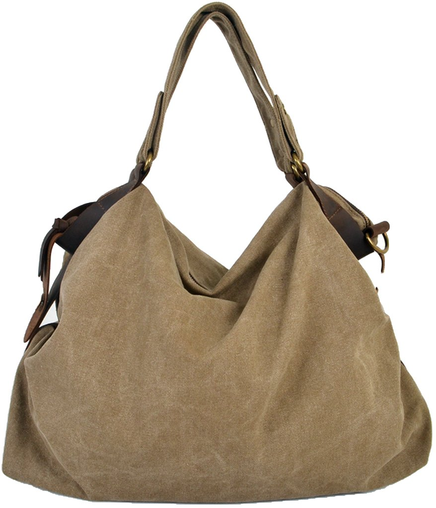 CLELO B544 Women's Hobo Style Canvas Genuine Leather Tote Handbag Shoulder Bag,Khaki