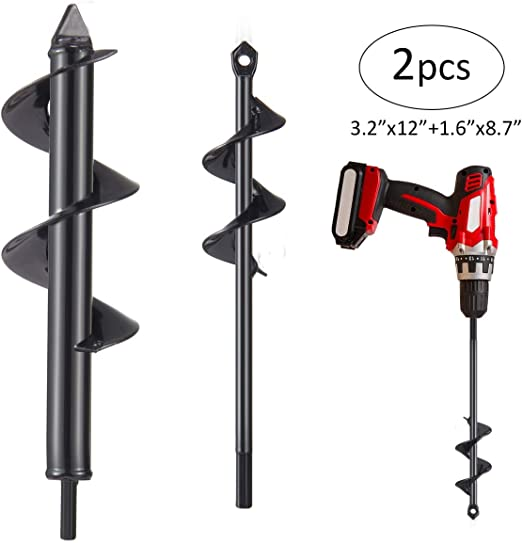 """Codirom Auger Drill Bit Garden Drill Bit Garden Plant Auger Hole Digger 1.6 x 9 and 3 x 9 for 3//8/"""" Hex Driver Drill 2-in-1 Set"""