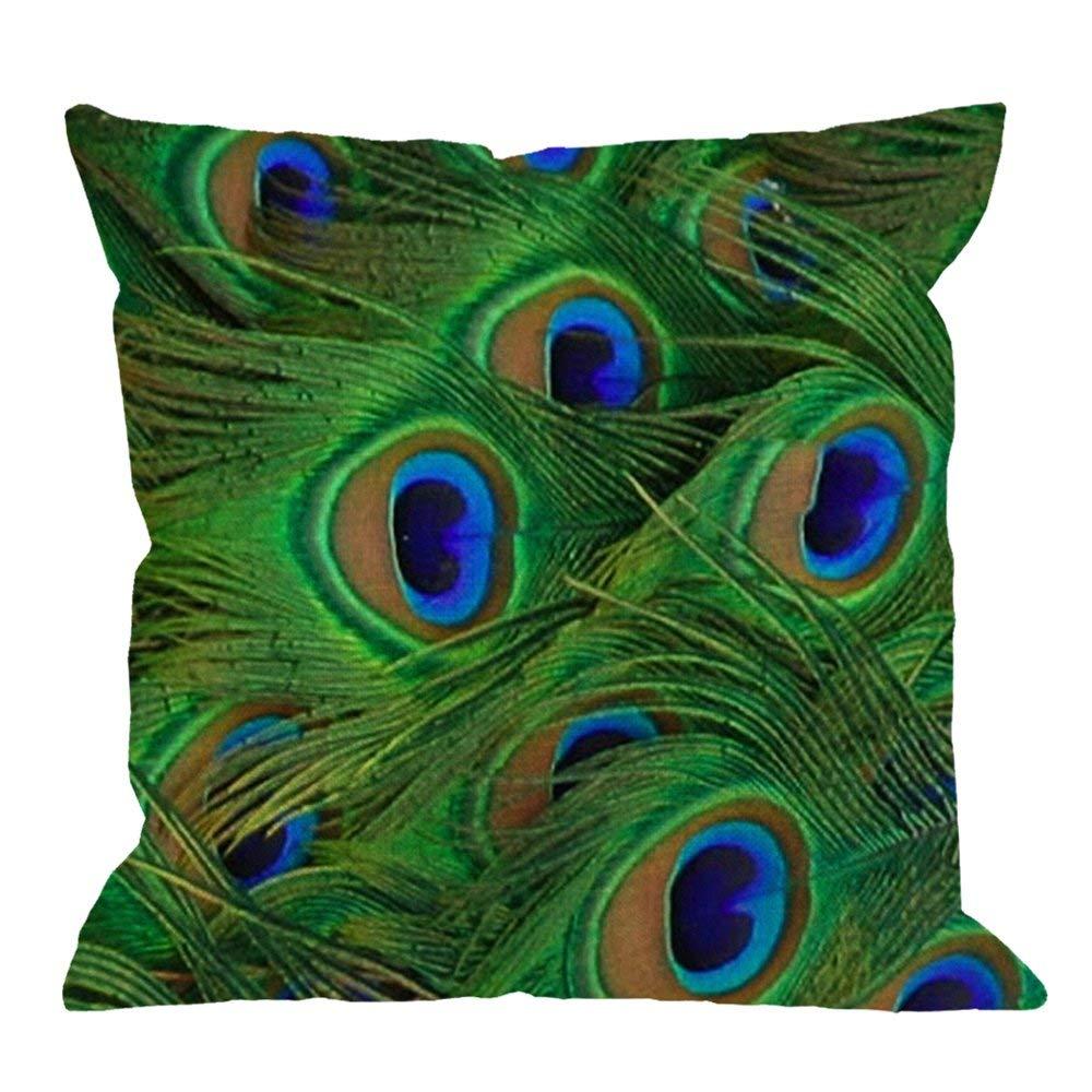 HGOD DESIGNS Peacock Pillowcase,Peacock Feather Green Cotton Linen Cushion Pillowcase Square Standard Home//Sofa Decorative for Men//Women 18x18 inch Green
