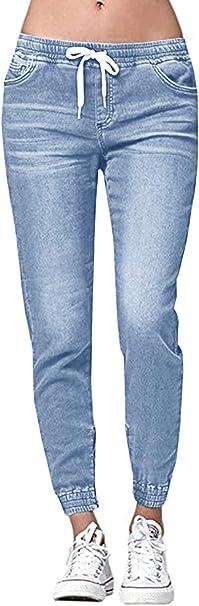 Ybenlover Damen High Waist Jeans Straight Slim Denim Stretch Lang Jeanshosen Mit Gummizug Amazon De Bekleidung