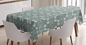 Ambesonne Garden Tablecloth, Baroque Style Inspired Delicate Daisy Flower Petals and Dots, Dining Room Kitchen Rectangular Table Cover, 60