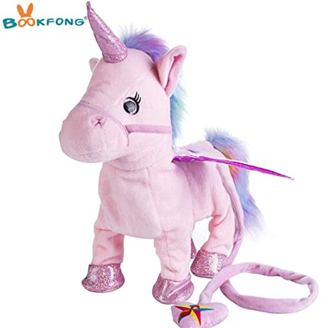 JEWH Lovely Electric Walking Unicorn Plush Toy - Soft Stuffed Animal Electronic Unicorn Doll - Sing