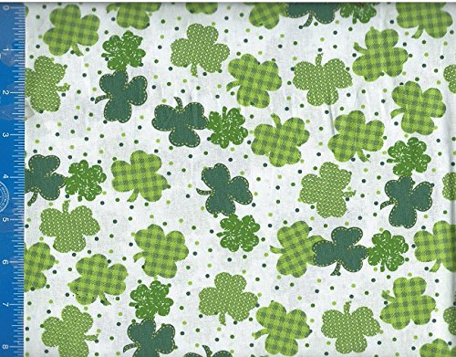 St Patrick Design Shamrock and Polka Dot Fabric Home Decor Crafting Quilting