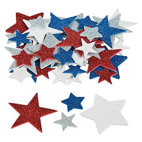 Fun Express - Fab Foam Adhesive Glitter Star Shapes - Craft Supplies - Foam Shapes - Regular - 500 Pieces