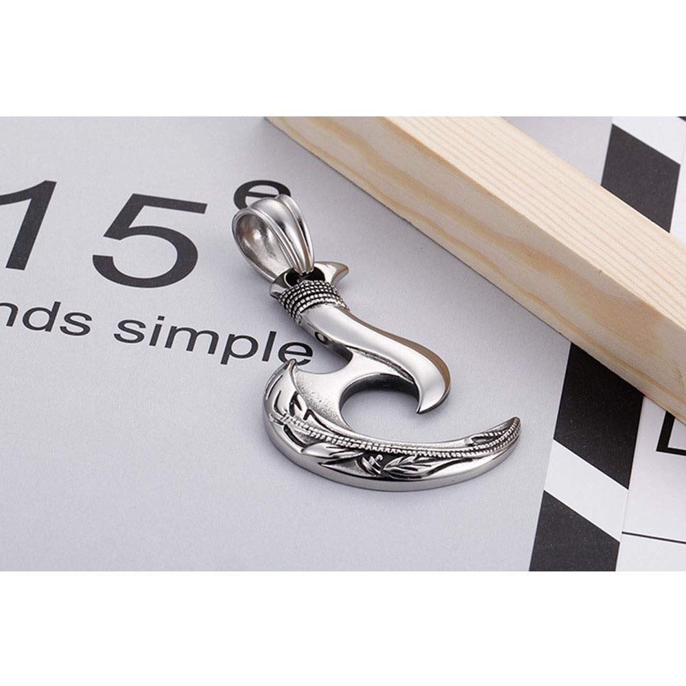 LIUFENGLONG Punk Necklace Pendant Mens Silver Gothic Pendant Stainless Steel Pendant DIY Jewelry Great Gift for Anyone Color : Silver, Size : 7835mm