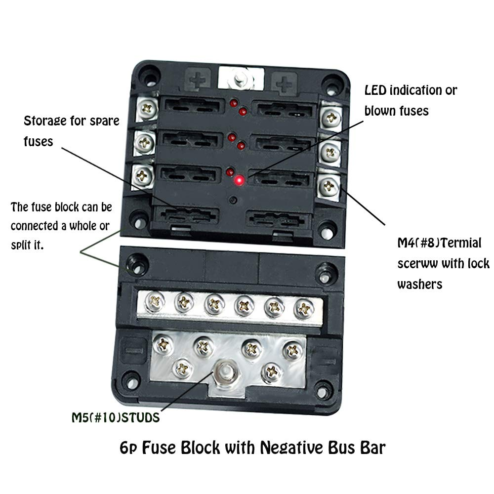Blade Fuse Block Box Holder 6 Circuits Atp And Negative 12v Marine With Bus Bar Led Indicator For Blown Suitable Automotive Boats