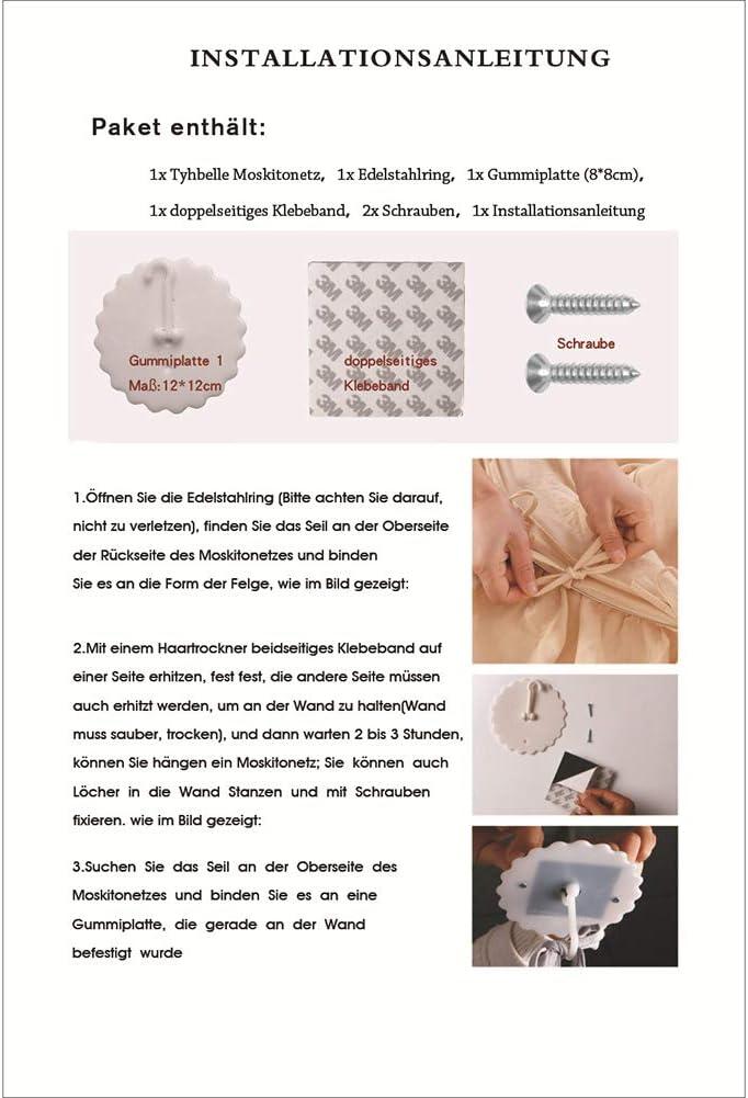 Moustiquaire Ciel de Lit Avec Couronne Filles Princesse Jouer Tente Enfant Chambre D/écoration Ciel de Lit Baldaquin Pour B/éb/é Pink