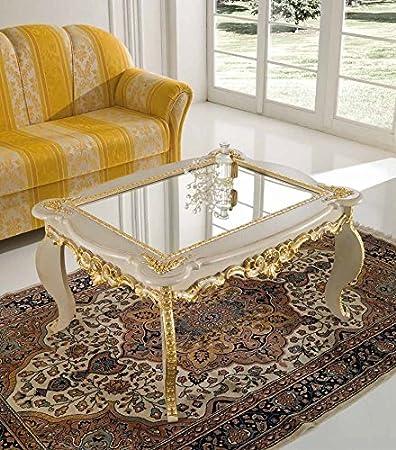 Tavolino classico da salotto intagliato a foglia avorio/oro ...