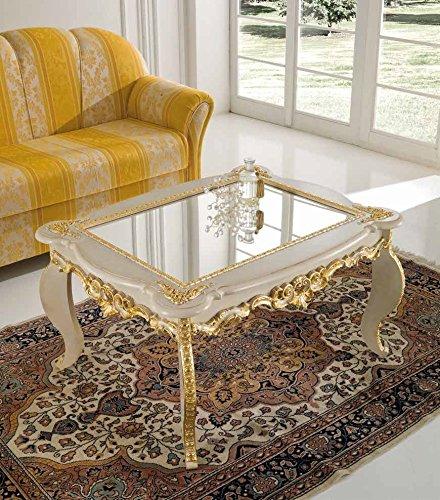 Tavolini Da Salotto Classici Prezzi.Mocada Tavolino Classico Da Salotto Intagliato A Foglia Avorio Oro Soggiorno