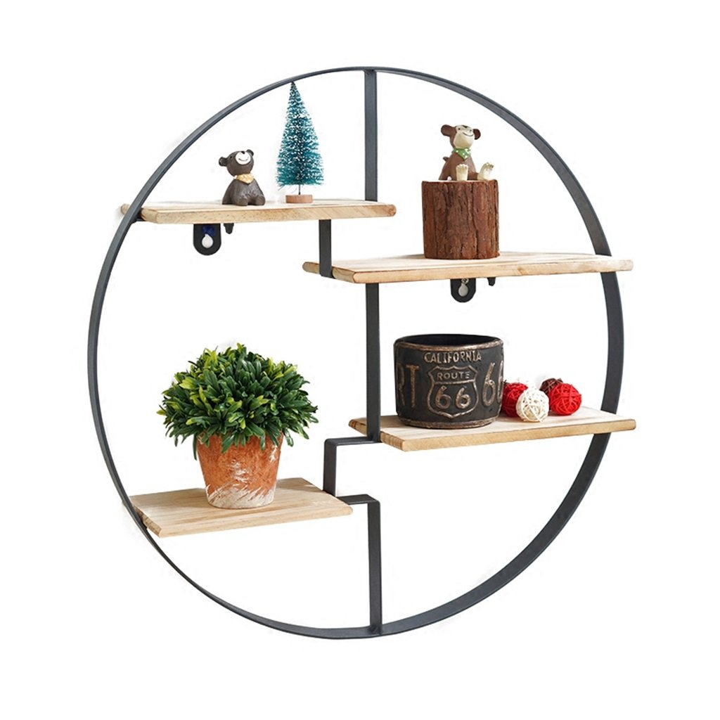 YD Shelf Floating Unit Frame As Wall Decoration Design Round Wall Shelf Metal Iron Wood For Bar Living Room LOFT Wall Hanging Cube Shelf For Bedroom Bookshelf Storage Rack @