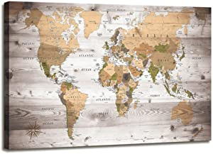 World Map Poster Office Wall Art Vintage Photos Canvas Painting Map Wall Art Nautical Decor Modern Framed Artwork Map of The World Canvas Prints for Living Room Travel Memory Home Decor 24x36 inches