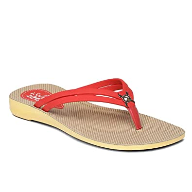 3b6078138 PARAGON SOLEA Women s Red Flip-Flops  Buy Online at Low Prices in ...