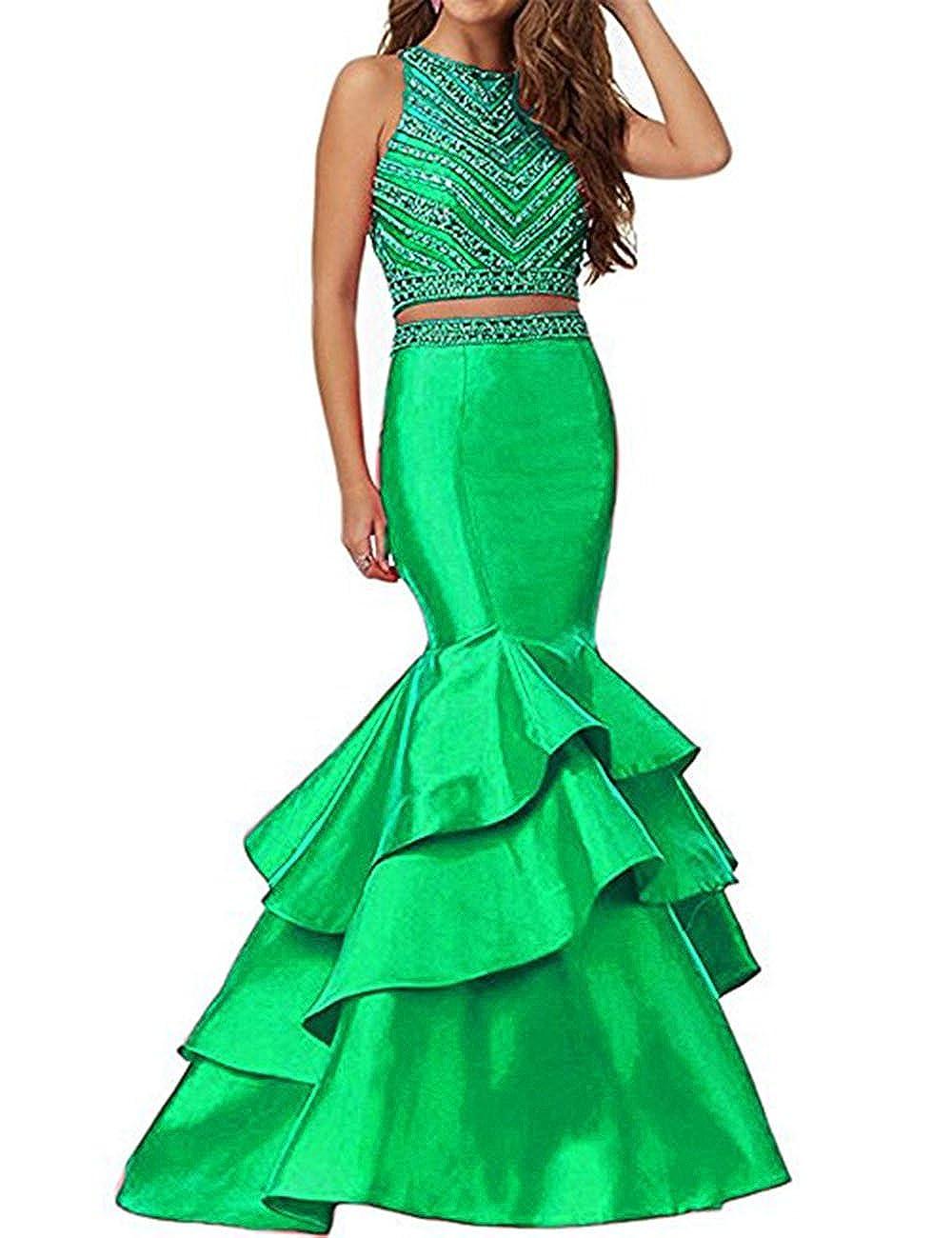Green Beautydress Women's Two Piece Mermaid Beaded Prom Party Dresses Formal Wear