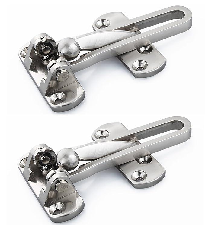 Drenky 2pcs Stainless Steel Swing Bar Door Guards Door Security Chain Restrictors Brushed Nickel Built-in Steel Ball Come with Screws