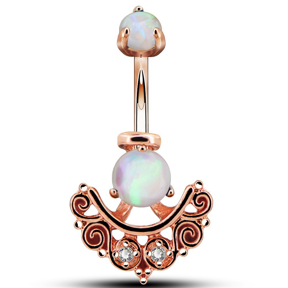 OUFER 14G Belly Button Rings 316L Stainless Steel White Opal Clear CZ Filigree Jacket 14g Curved Barbell Navel Rings