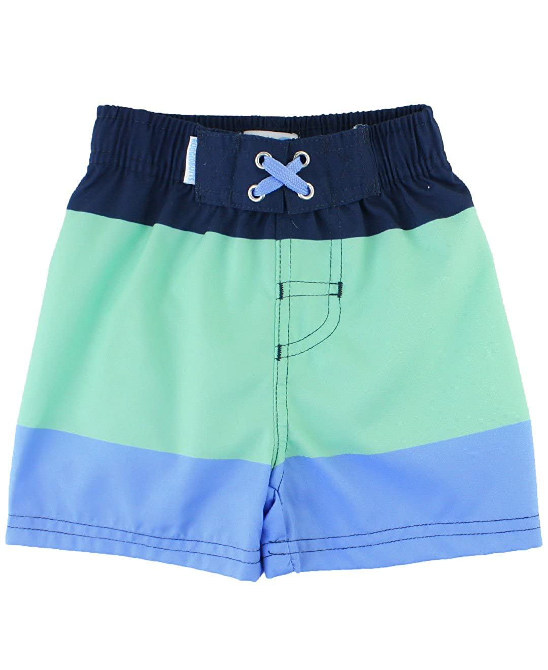 2d05fc2f28fe5 A drawstring waist and comfortable stretchy waist will have him splashing  around all summer long in these adorable trunks.