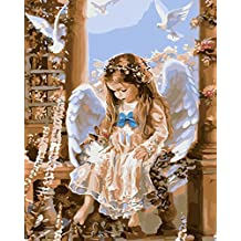 YEESAM ART New Release Paint by Number Kits for Adults Kids - Angel and Bunny 16x20 inch Linen Canvas without Wooden Frame